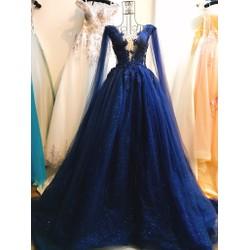 bán áo cưới đẹp giá rẻ, màu xanh phối thân kem, tùng im tuyến vai lưới