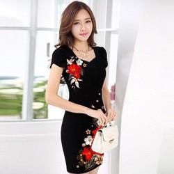 Đầm công sở in hoa châu sa hàng việt nam