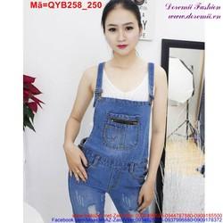 Quần yếm jean nữ dài xước wash nhẹ trẻ trung QYB258