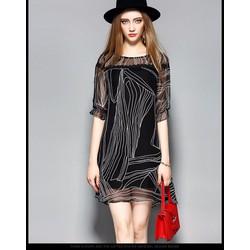 Đầm suông voan họa tiết phối ren KL21417