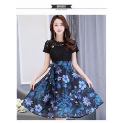 Hàng nhập loại 1 - Đầm xòe chân váy voan phối hoa DX2283
