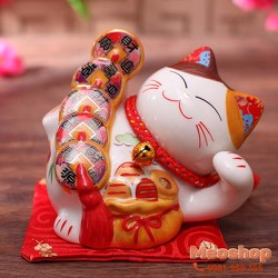 Mèo thần tài, mèo may mắn Maneki Neko MS35312 size 7 cm