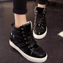 Giày sneaker cực chất đế tăng chiều cao nữ 5-6 cm màu đen bóng S-TT113