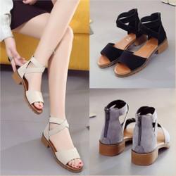 Giày sandal đế vuông quai choàng chéo - màu:đen,xám,kem