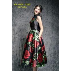 Đầm Xòe Vintage Cổ Yếm In Hoa Hồng Cao Cấp