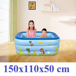 Bể bơi phao 3 tầng cho bé size to 150x110x50cm