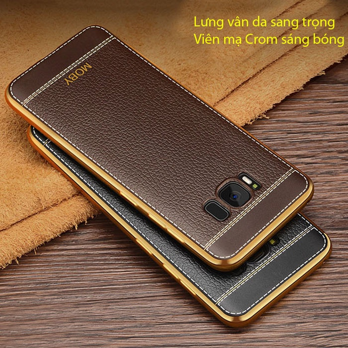 Ốp lưng Galaxy S8 Moby Leather Case + Iring + dán lưng Carbon 1