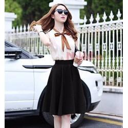 Set chân váy dài áo nơ- 1095088