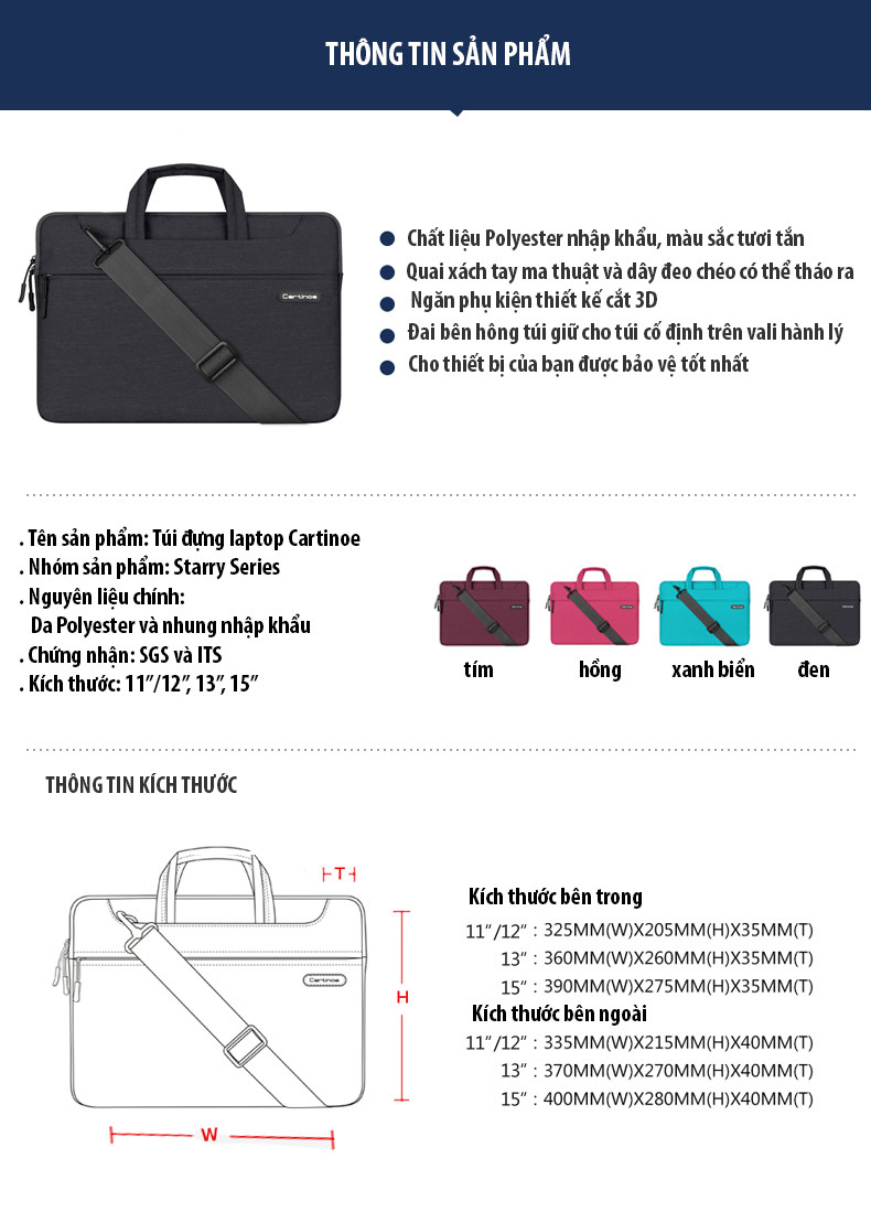 Túi laptop thời trang cao cấp Cartinoe Starry 13.3 inch 2