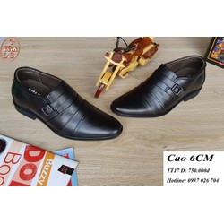 Giày tăng chiều cao nam T-Tra Shoes,da thật TT 17 đen, cao 6cm