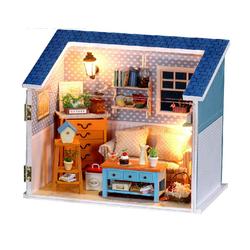 Mô hình nhà búp bê với phòng khách 1 vách mika vát mái xanh