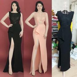 Đầm dạ hội cao cấp xẻ tà quý phái M, L, XL TAMV2415