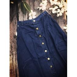 Chân váy jean dài nút lưng thun - MS: S070634 Gs: 135K