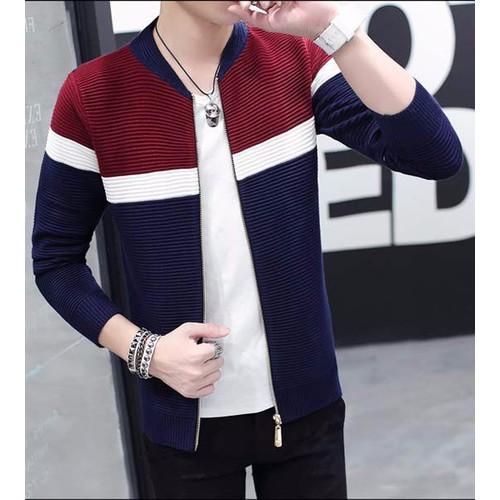 áo khoác len nam phối màu Mã: NK0921 - ĐỎ