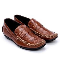 Giày nam vân cá sấu Huy Hoàng màu nâu -HS7129