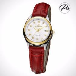 Đồng hồ nữ dây da họa tiết da cá sấu thời trang- da đỏ
