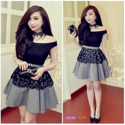 Đầm thiết kế ren đen bẹt vai caro giống bella VD239