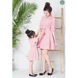 Đầm đôi cho mẹ và bé fom xòe cổ sơ mi HGS 02