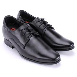 Giày nam tăng chiều cao  Huy Hoàng cột dây màu đen-HS7718