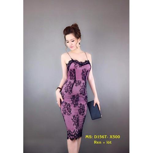 Đầm Ren 2 Dây Sexy Cao Cấp - Tím