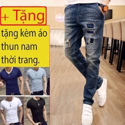Quần Jean Rách Phong Cách Bụi Bặm  tặng áo