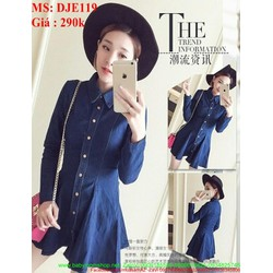 Đầm jean công sở dài tay kiểu cổ sơ mi xinh đẹp DJE119