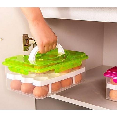 Hộp đựng trứng gà 2 tầng để tủ lạnh gia đình