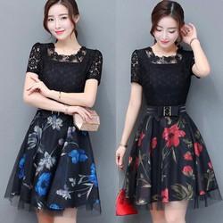 Đầm ren xòe cao cấp - hàng nhập Quảng Châu