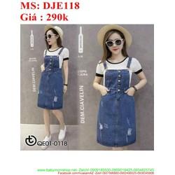 Váy yếm jean đính hàng nút rách nhẹ thời trang phong cách DJE118