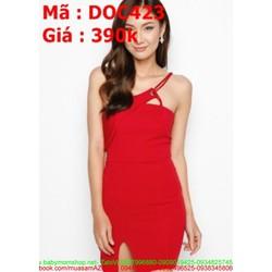 Đầm ôm dự tiệc thiết kế lệch vai màu đỏ sang trọng DOV423
