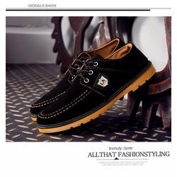 Giày Dả Da Lộn Màu Đen