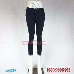 Quần Jean Nữ Lưng Thấp Màu Xanh Đen Đậm 9 Tấc Size 28 đến size 32