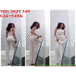 Sét áo kiểu cúp ngực mới lạ phối quần ống suông sành điệu SQV349