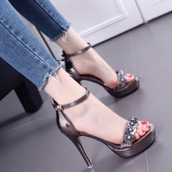 Giày cao gót nữ quai ngang đính hoa - LN1260