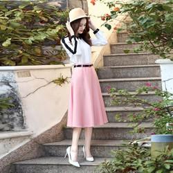 Chân váy Xòe Vinatage đáng dài Hồng