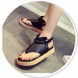SD226D - Giày sandal nữ cao 3cm kẹp ngón trang trí tết bím - Doni86