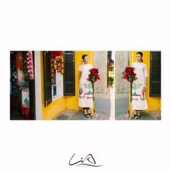 Áo dài màu trắng vẽ tay hoạ tiết hội hơi nhân gian size M