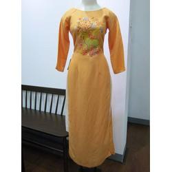 Áo dài màu cam vẽ tay chú hươu size M