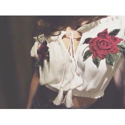 Áo xô chuông croptop thêu hoa hồng