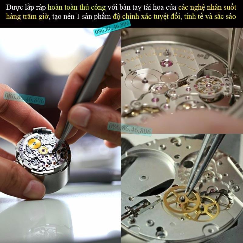 Đồng hồ lộ máy cơ cao cấp mạ PVD vàng kính sapphire chống nước Thụy Sĩ 4