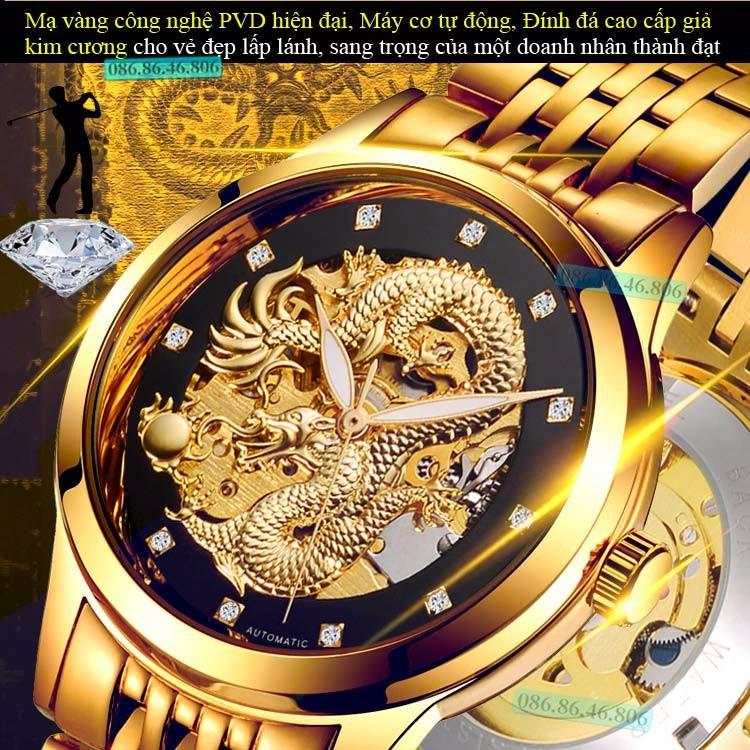 Đồng hồ lộ máy cơ Cao Cấp phiên bản Rồng Vàng 3D kính Sapphire Thụy Sỹ 5