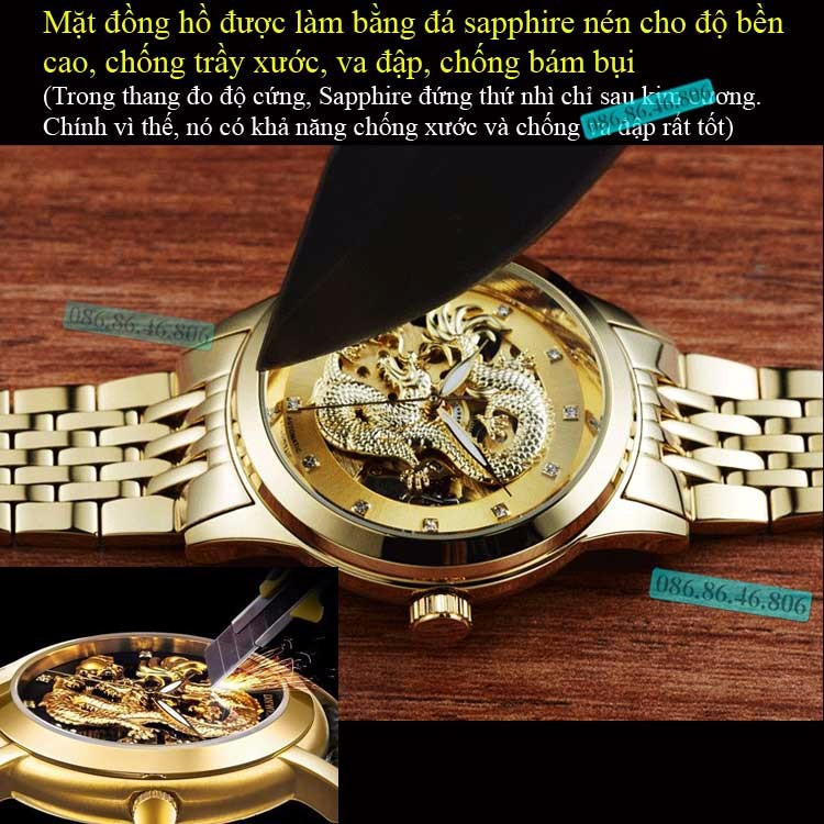 Đồng hồ lộ máy cơ Cao Cấp phiên bản Rồng Vàng 3D kính Sapphire Thụy Sỹ 6