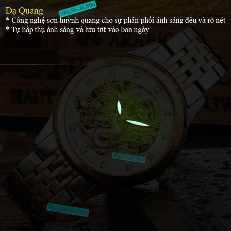 Đồng hồ lộ máy cơ Cao Cấp phiên bản Rồng Vàng 3D kính Sapphire Thụy Sỹ 14