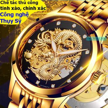 Đồng hồ lộ máy cơ Cao Cấp phiên bản Rồng Vàng 3D kính Sapphire Thụy Sĩ