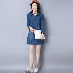 Đầm jean suông cao cấp tay dài cổ sơ mi v sâu có size xxl - TP118