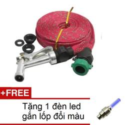 Vòi phun xịt nước rửa xe tưới cây 10m HQ TI166-1A Đỏ + Tặng1 đèn led