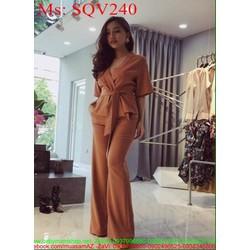 Sét áo kiểu V thắt nơ eo xinh đẹp phối quần suông dài sành điệu SQV240