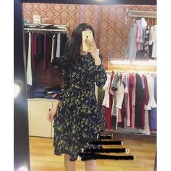Đầm xoè cổ bèo in hoa 3d nhẹ nhàng xinh xắn