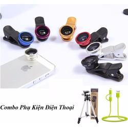 Combo phụ kiện điện thoại 1 Chân đế LỚN, 1 Lens 3IN1,1 Cáp sạc đa năng