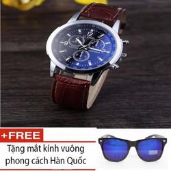 Đồng hồ kim cho Nam phong cách doanh nhân kèm quà tặng kính vuông